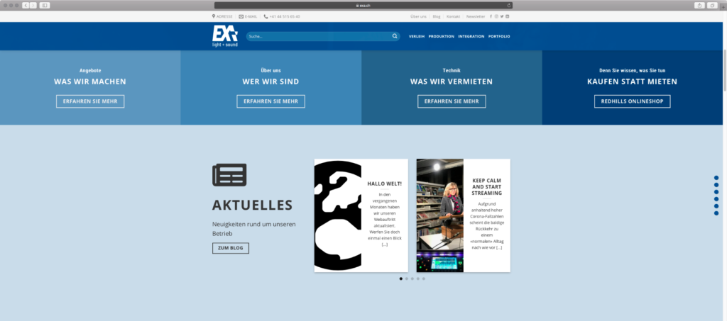 Screenshot der neuen Exa Light & Sound-Homepage